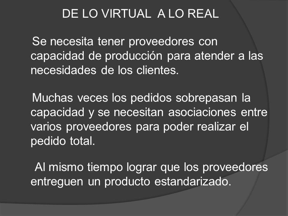 DE LO VIRTUAL A LO REAL Se necesita tener proveedores con capacidad de producción para atender a las necesidades de los clientes.