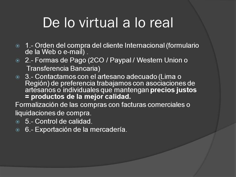 De lo virtual a lo real 1.- Orden del compra del cliente Internacional (formulario de la Web o e-mail) .