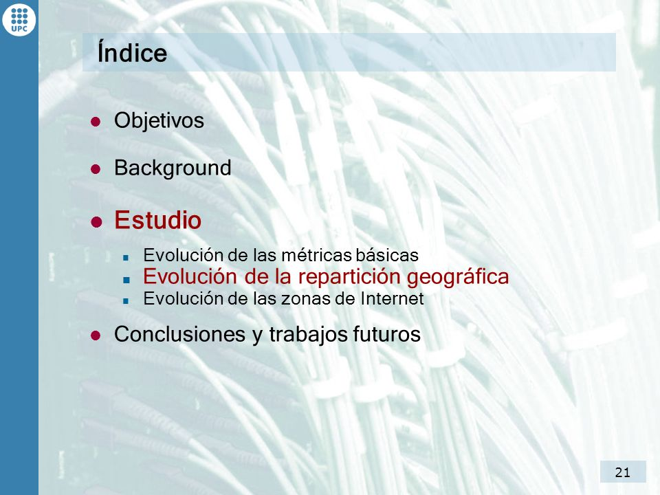 Índice Estudio Objetivos Background