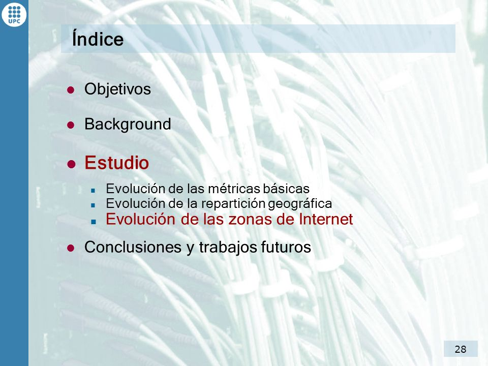 Índice Estudio Objetivos Background Evolución de las zonas de Internet