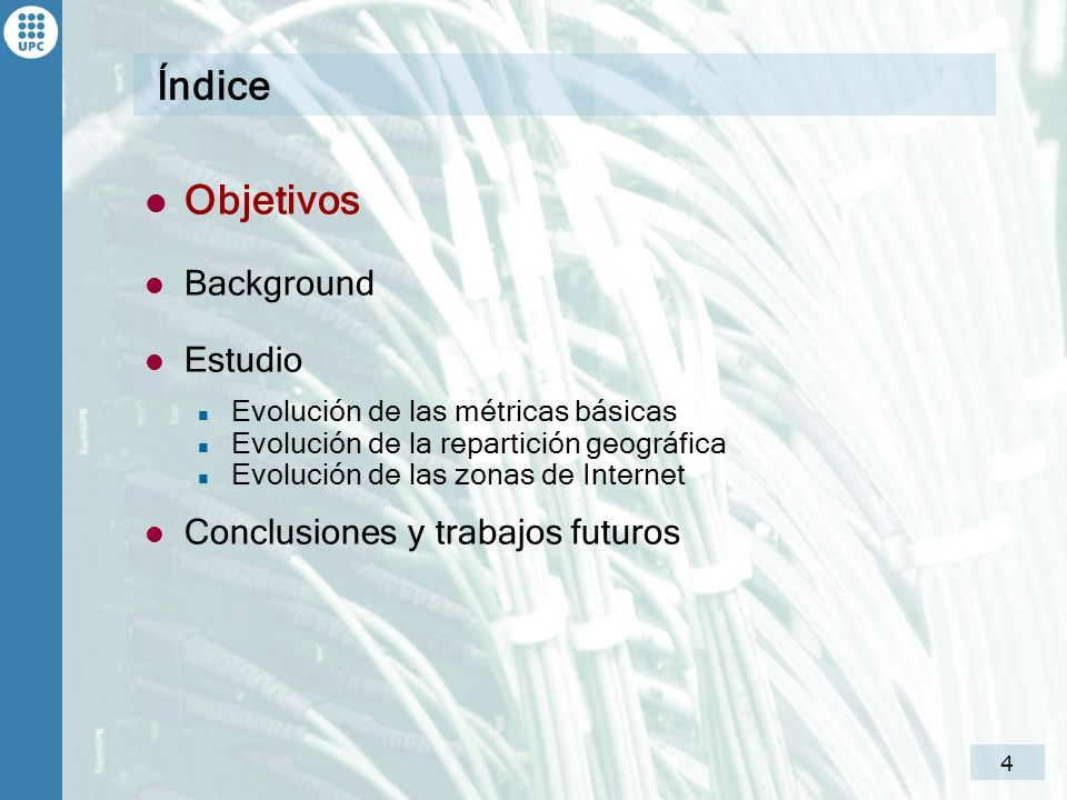 Índice Objetivos Background Estudio Conclusiones y trabajos futuros