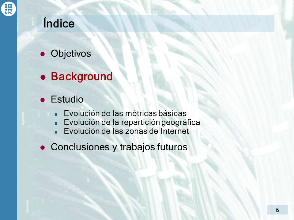 Índice Background Objetivos Estudio Conclusiones y trabajos futuros
