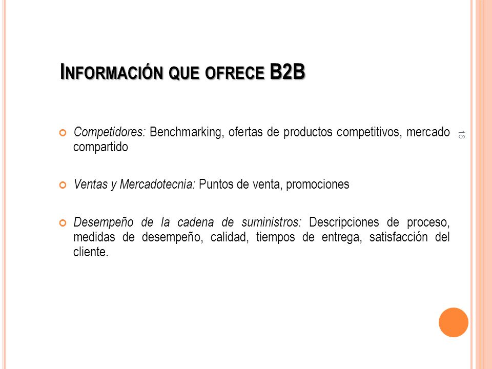 Información que ofrece B2B
