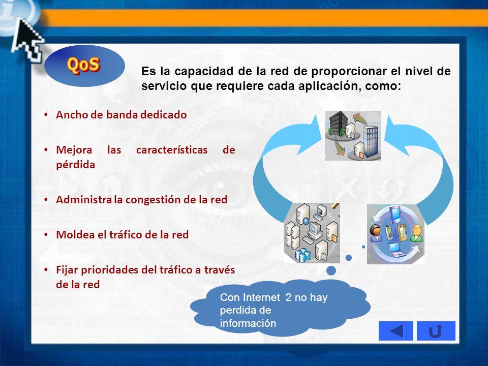 QoS Es la capacidad de la red de proporcionar el nivel de servicio que requiere cada aplicación, como: