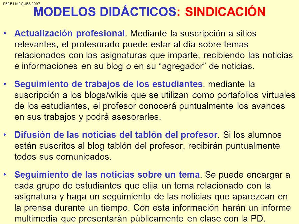 MODELOS DIDÁCTICOS: SINDICACIÓN