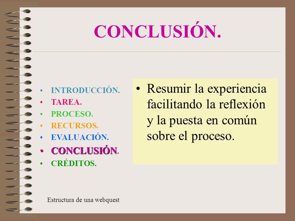 CONCLUSIÓN. Resumir la experiencia facilitando la reflexión y la puesta en común sobre el proceso. INTRODUCCIÓN.