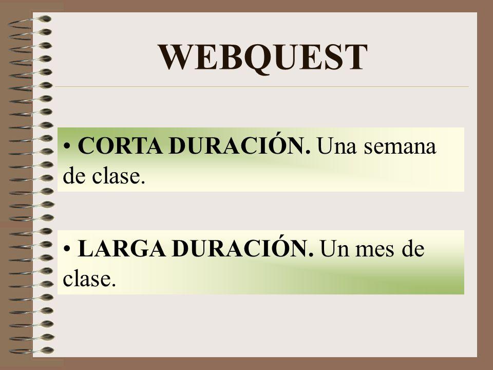 WEBQUEST CORTA DURACIÓN. Una semana de clase.