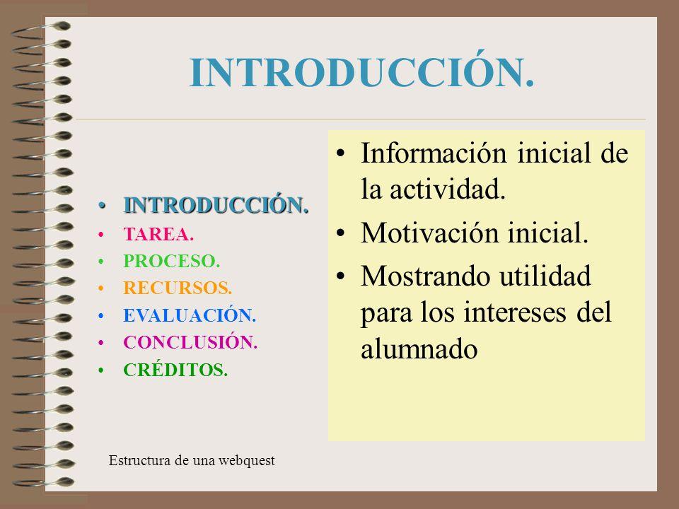 INTRODUCCIÓN. Información inicial de la actividad. Motivación inicial.