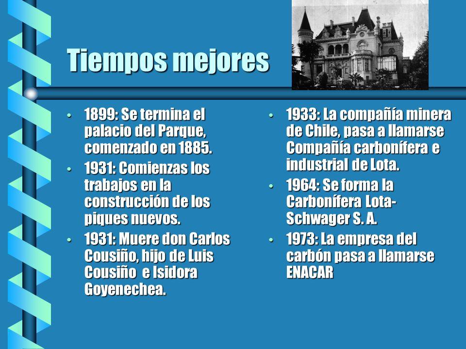 Tiempos mejores 1899: Se termina el palacio del Parque, comenzado en 1885. 1931: Comienzas los trabajos en la construcción de los piques nuevos.
