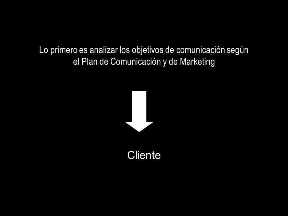 Lo primero es analizar los objetivos de comunicación según el Plan de Comunicación y de Marketing