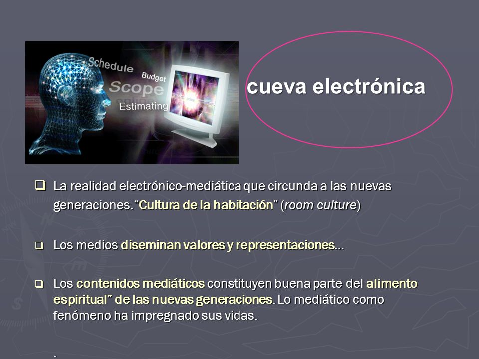 cueva electrónica La realidad electrónico-mediática que circunda a las nuevas generaciones. Cultura de la habitación (room culture)