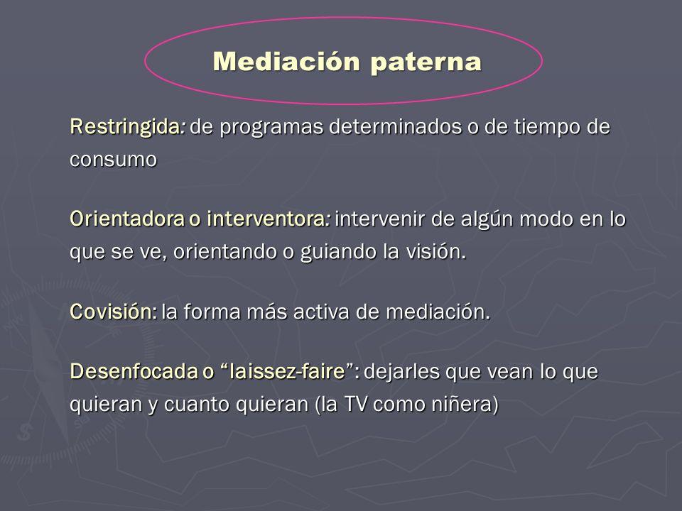 Mediación paterna Restringida: de programas determinados o de tiempo de consumo.
