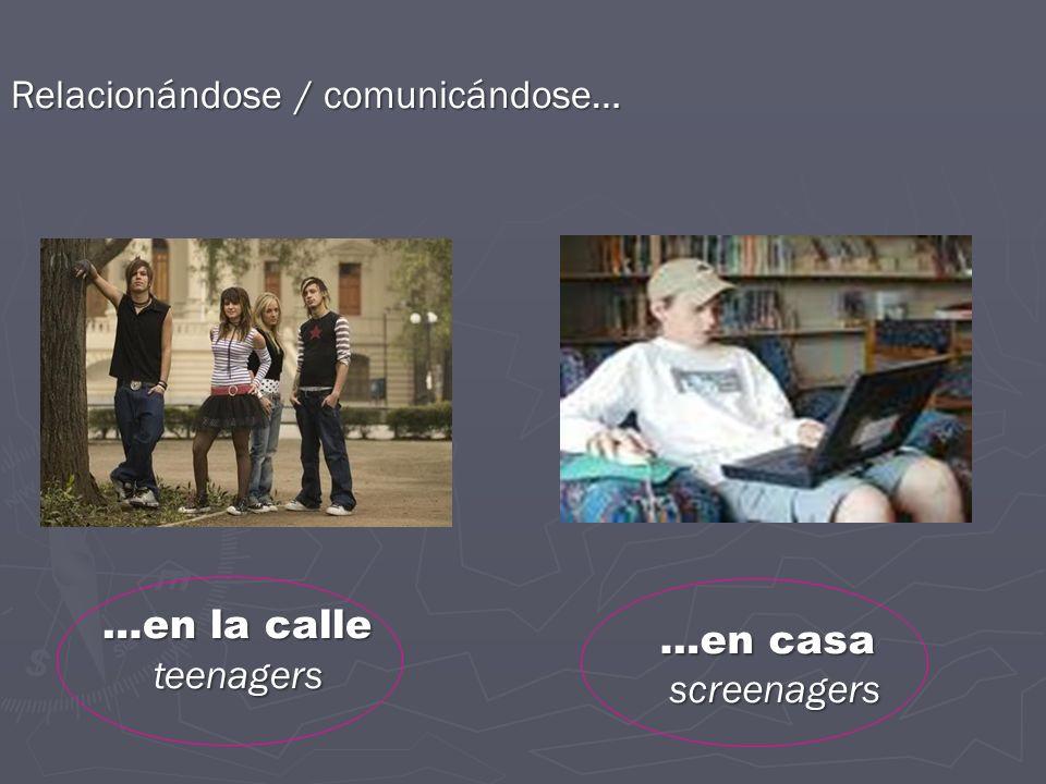 …en casa Relacionándose / comunicándose… …en la calle teenagers
