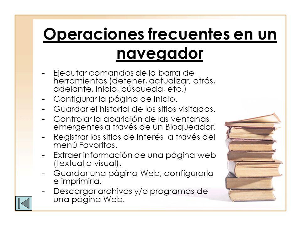 Operaciones frecuentes en un navegador