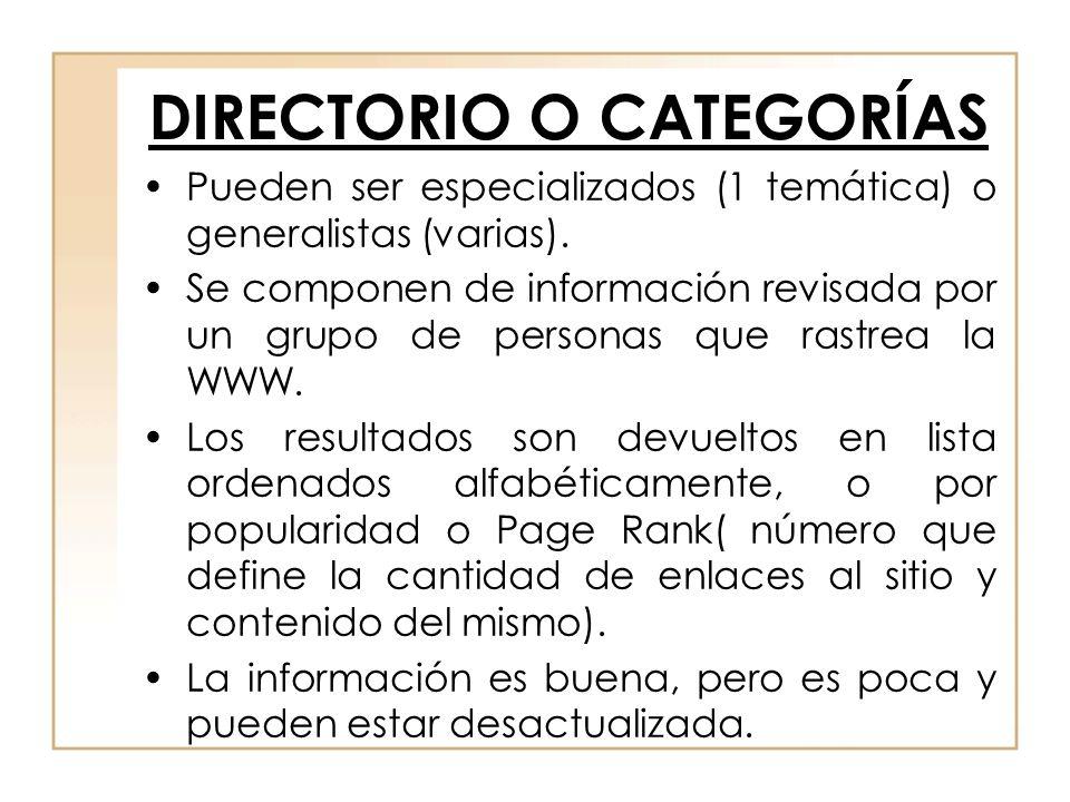 DIRECTORIO O CATEGORÍAS