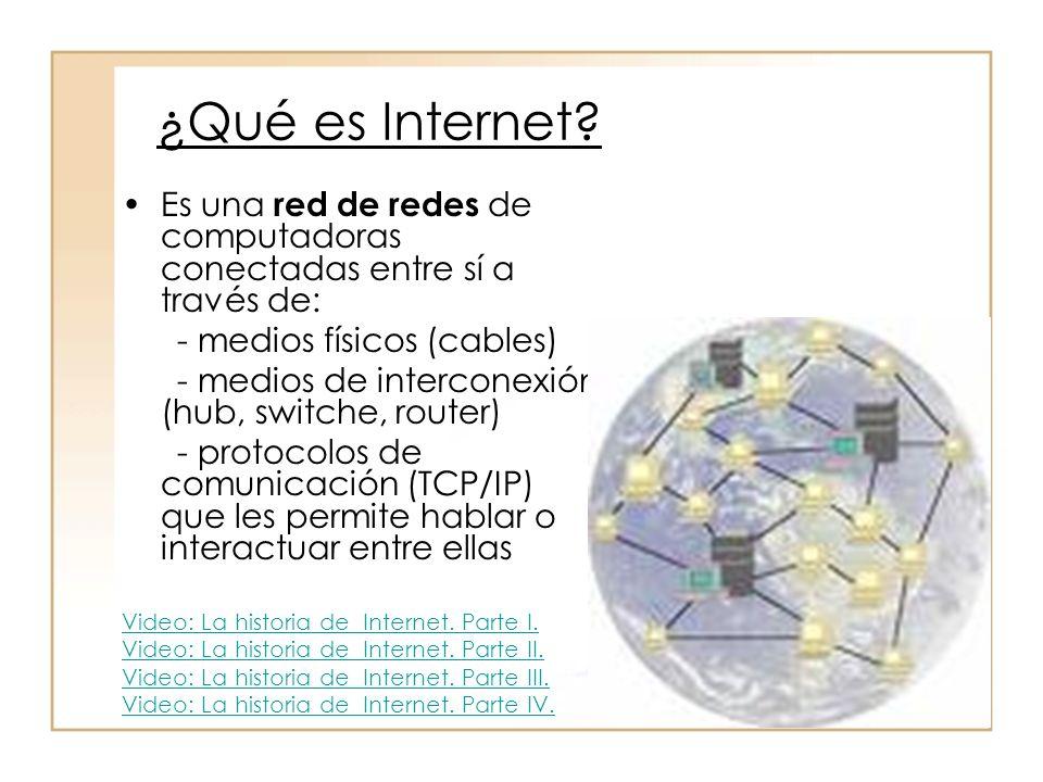 ¿Qué es Internet Es una red de redes de computadoras conectadas entre sí a través de: - medios físicos (cables)
