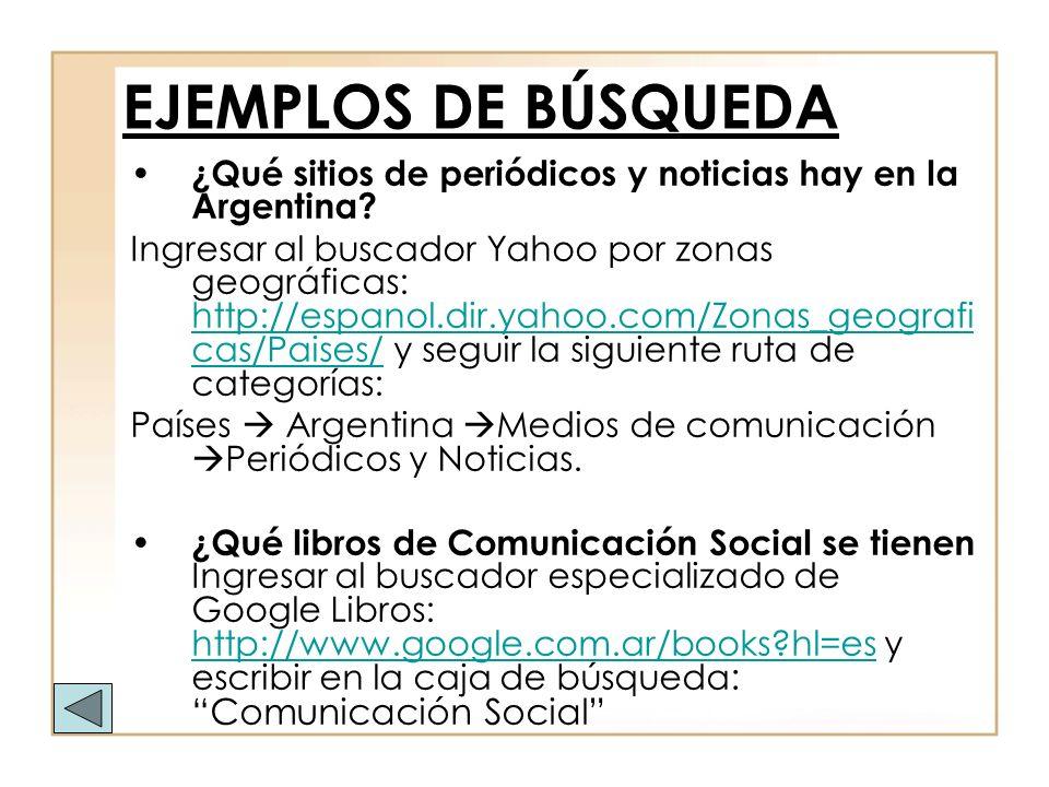 EJEMPLOS DE BÚSQUEDA ¿Qué sitios de periódicos y noticias hay en la Argentina
