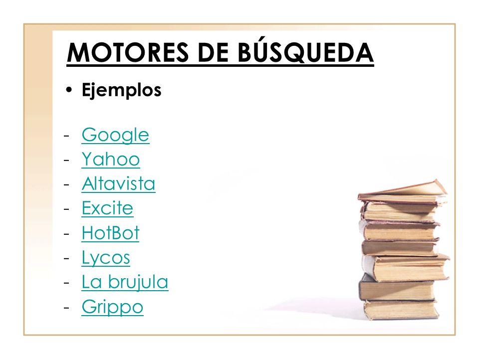 MOTORES DE BÚSQUEDA Ejemplos Google Yahoo Altavista Excite HotBot