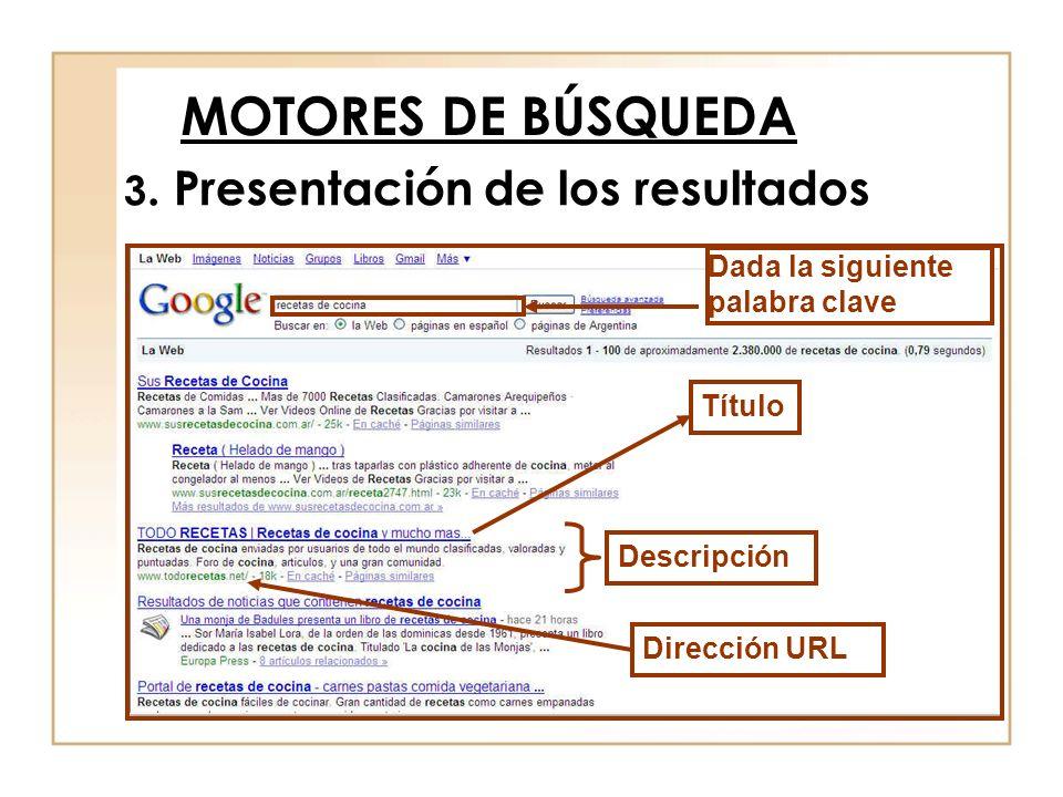 MOTORES DE BÚSQUEDA 3. Presentación de los resultados
