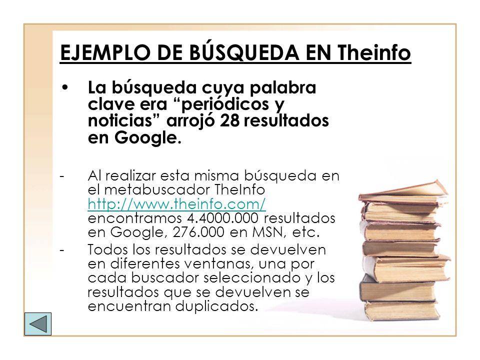 EJEMPLO DE BÚSQUEDA EN Theinfo