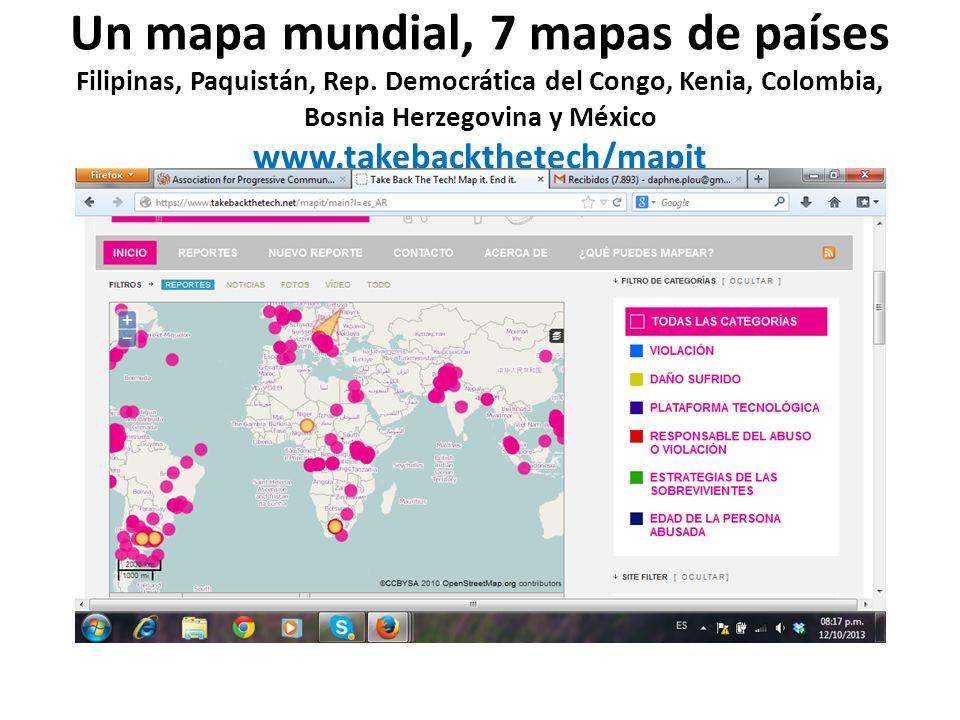 Un mapa mundial, 7 mapas de países Filipinas, Paquistán, Rep