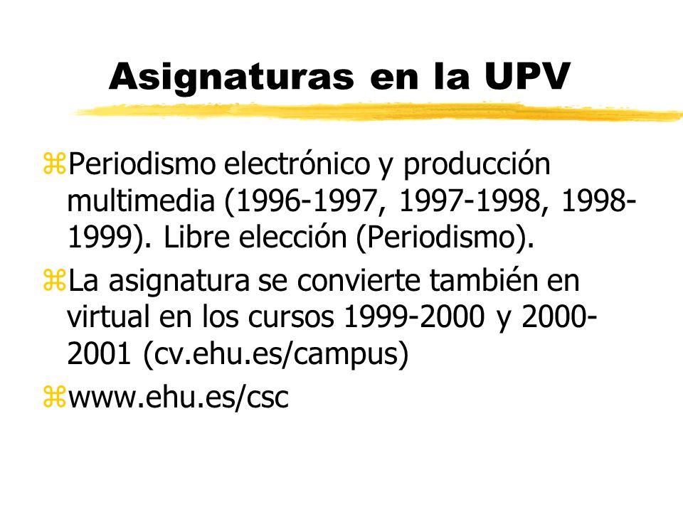 Asignaturas en la UPV Periodismo electrónico y producción multimedia (1996-1997, 1997-1998, 1998-1999). Libre elección (Periodismo).