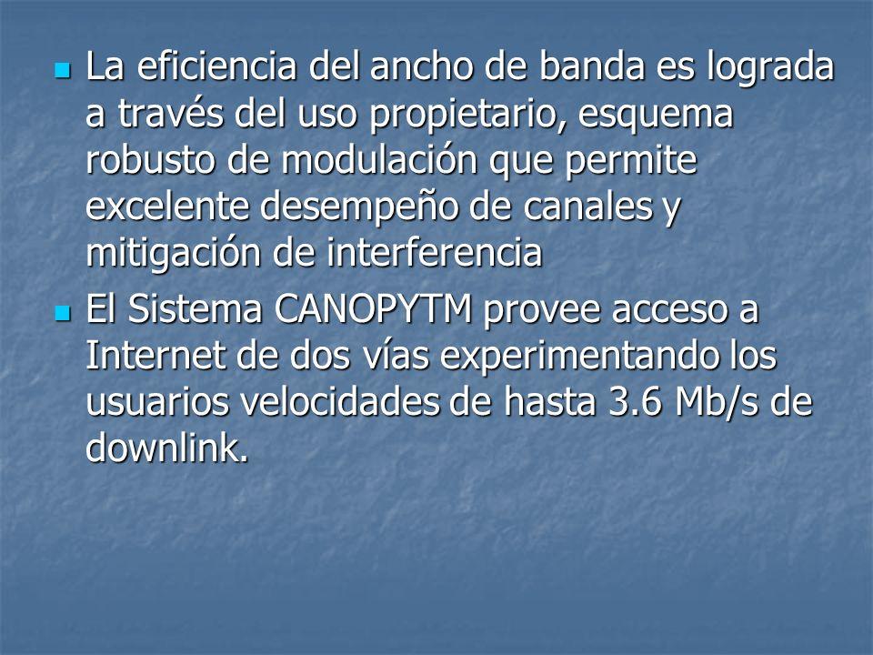 La eficiencia del ancho de banda es lograda a través del uso propietario, esquema robusto de modulación que permite excelente desempeño de canales y mitigación de interferencia