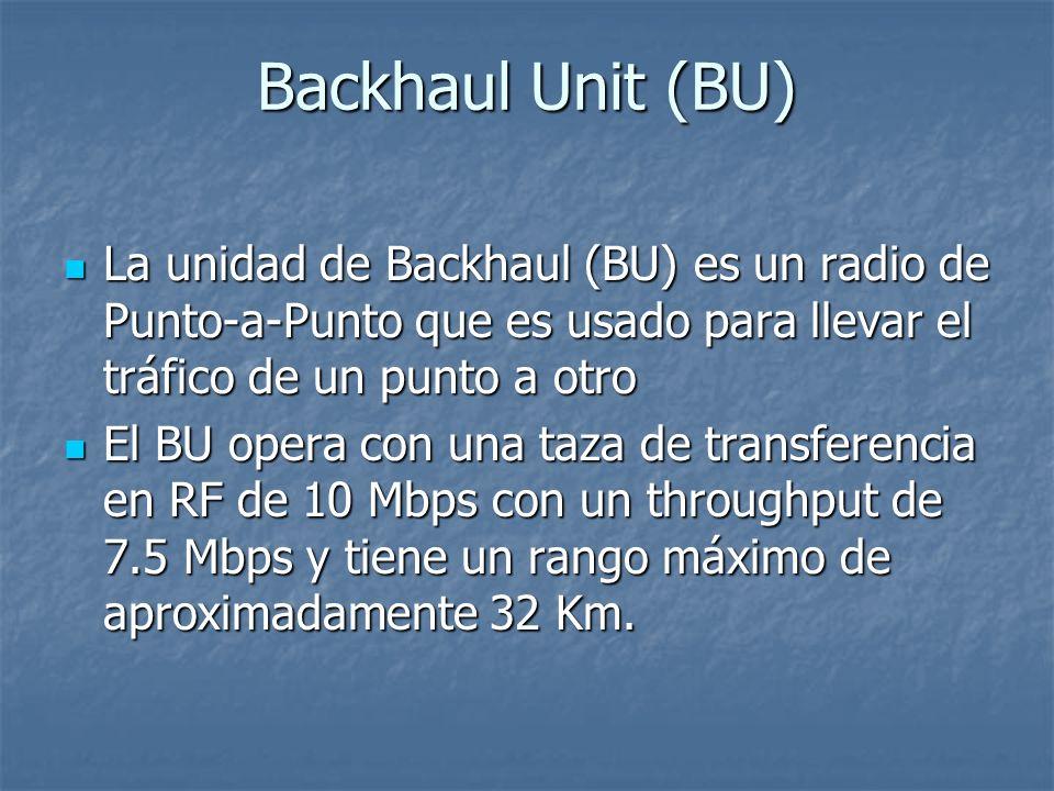 Backhaul Unit (BU) La unidad de Backhaul (BU) es un radio de Punto-a-Punto que es usado para llevar el tráfico de un punto a otro.