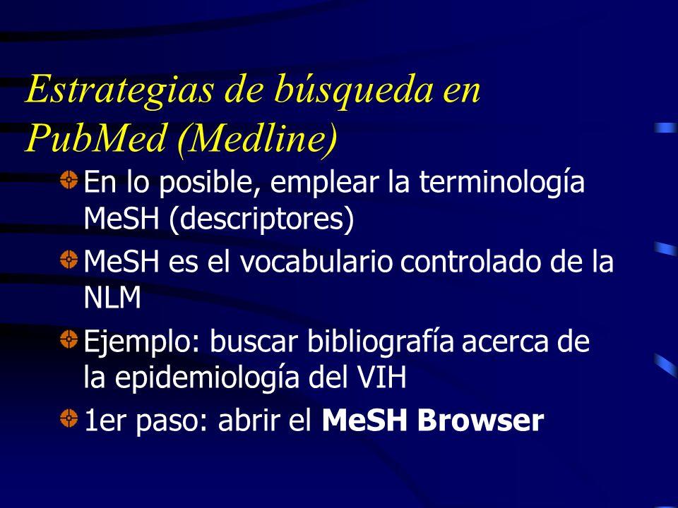 Estrategias de búsqueda en PubMed (Medline)