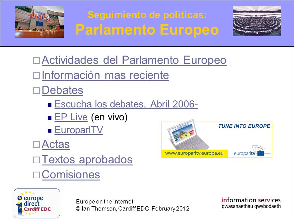 Seguimiento de politicas: Parlamento Europeo