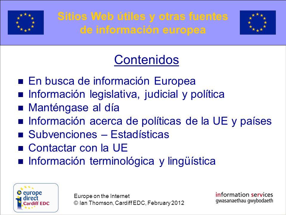Sitios Web útiles y otras fuentes de información europea