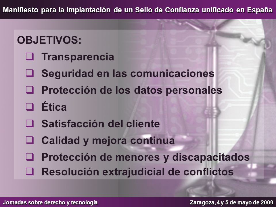 Seguridad en las comunicaciones Protección de los datos personales