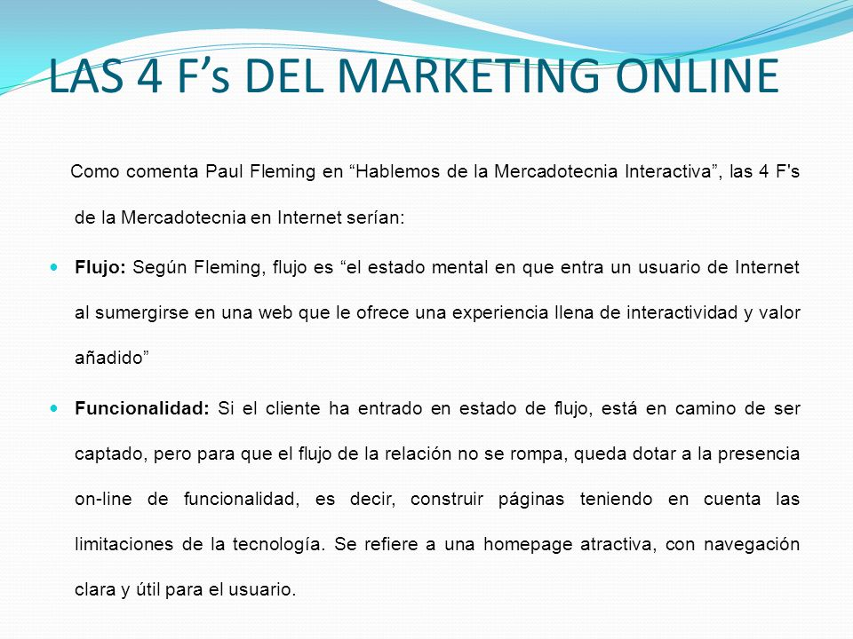 LAS 4 F's DEL MARKETING ONLINE