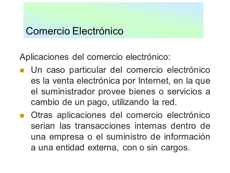 Comercio Electrónico Aplicaciones del comercio electrónico: