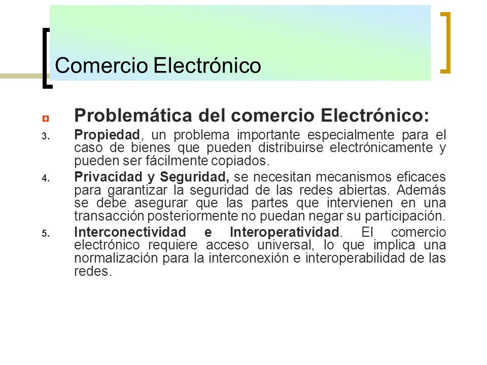 Comercio Electrónico Problemática del comercio Electrónico: