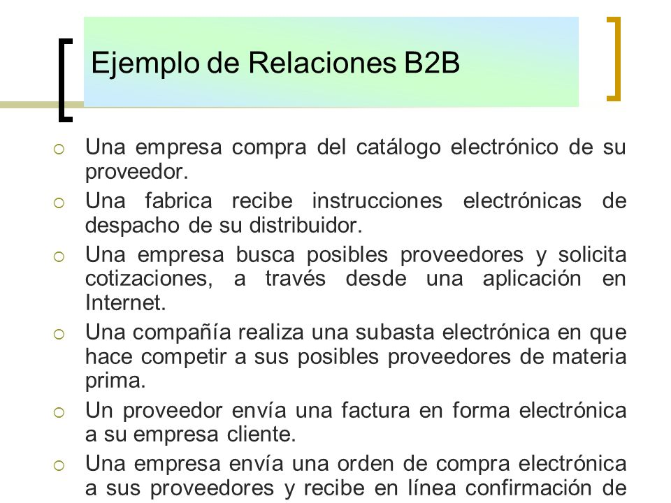 Ejemplo de Relaciones B2B