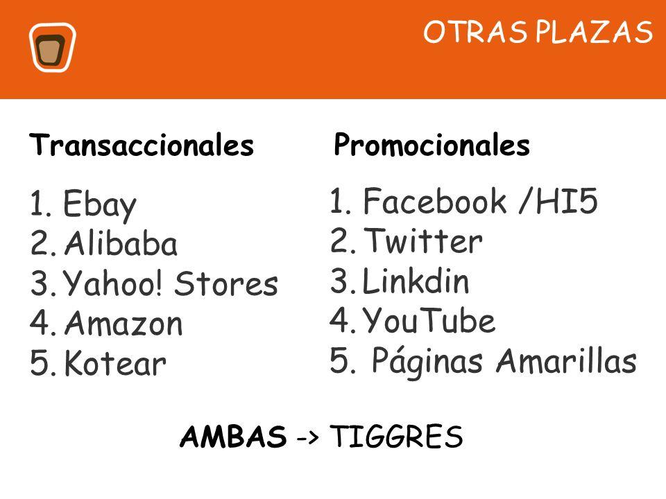 Facebook /HI5 Ebay Twitter Alibaba Linkdin Yahoo! Stores YouTube