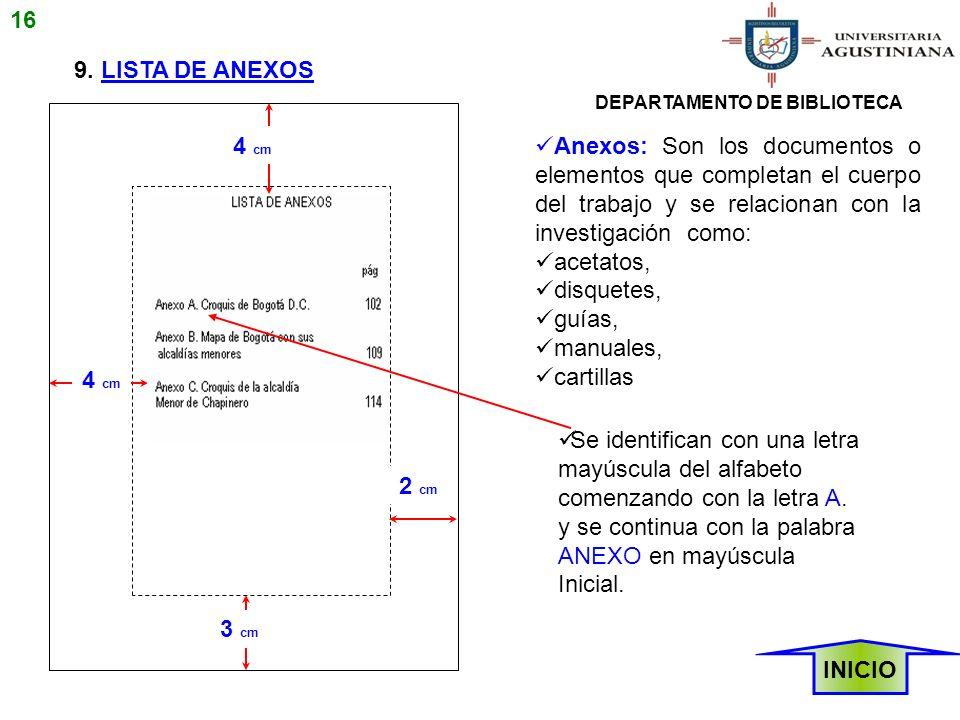 16 9. LISTA DE ANEXOS. DEPARTAMENTO DE BIBLIOTECA. 4 cm.