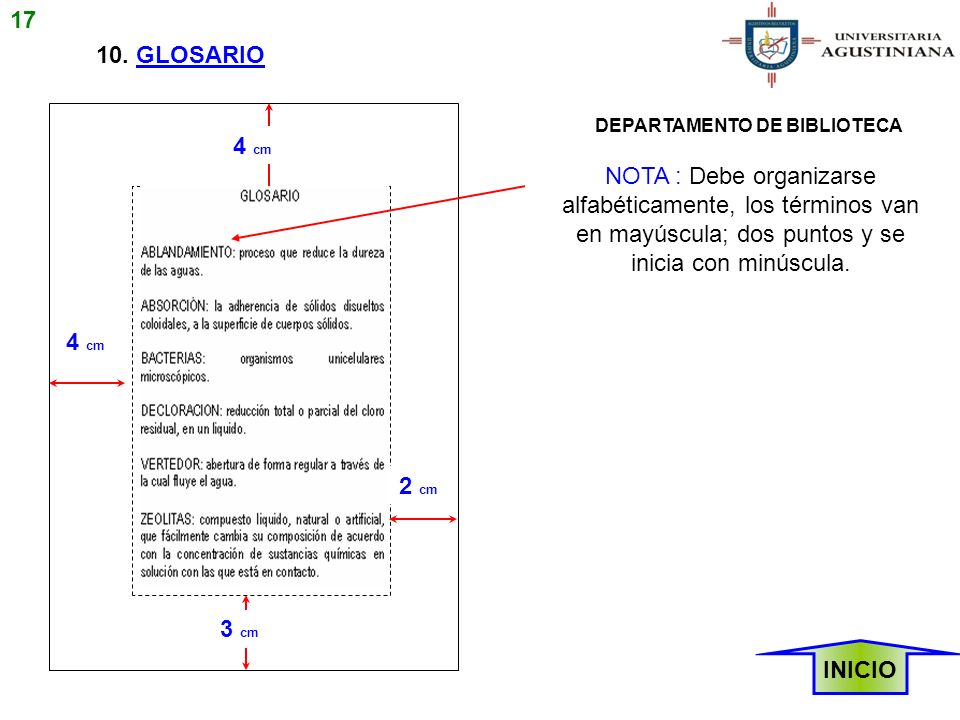17 10. GLOSARIO. DEPARTAMENTO DE BIBLIOTECA. 4 cm.