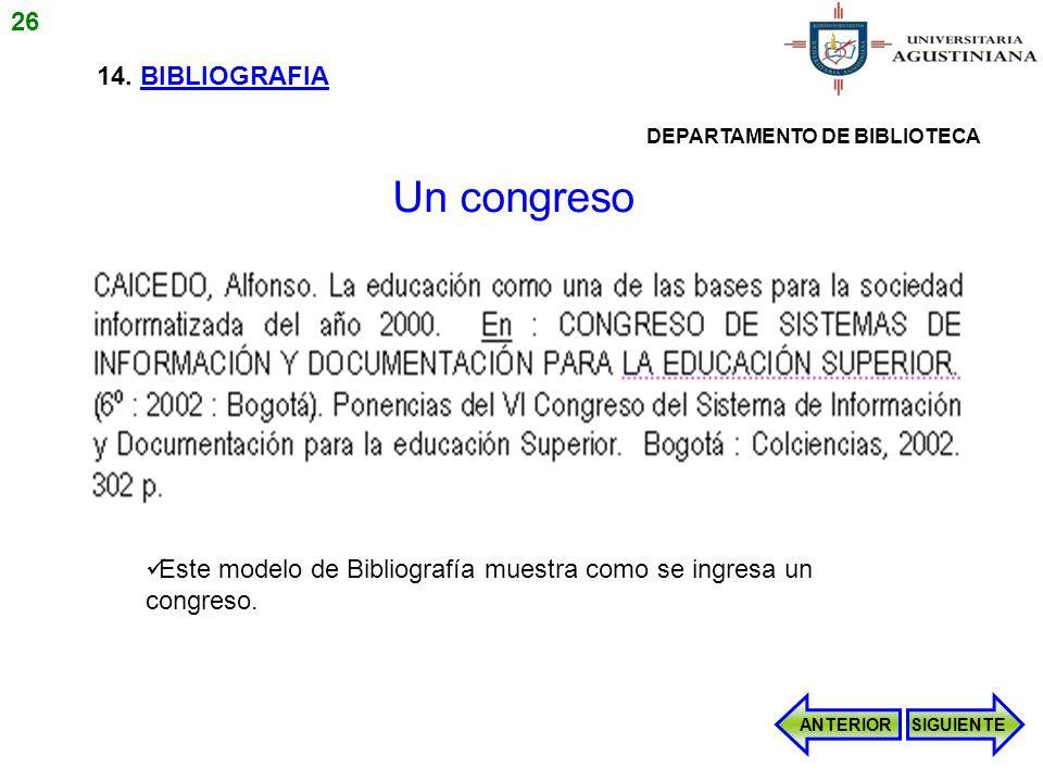 Un congreso 26 14. BIBLIOGRAFIA