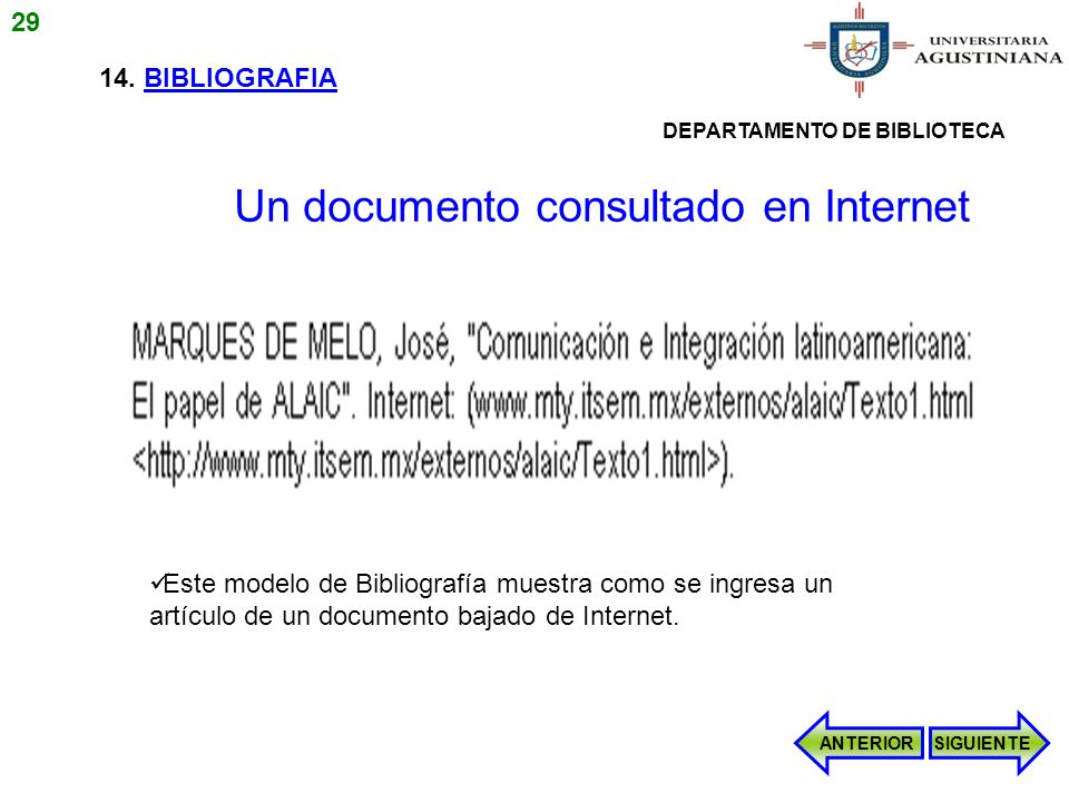 Un documento consultado en Internet