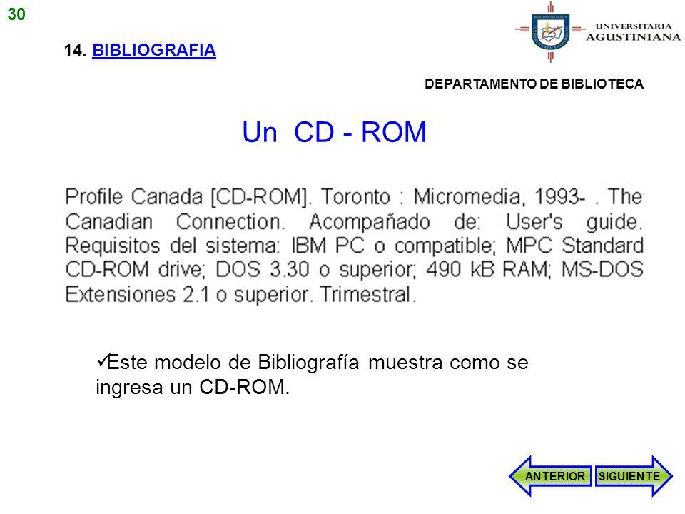 30 14. BIBLIOGRAFIA. DEPARTAMENTO DE BIBLIOTECA. Un CD - ROM. Este modelo de Bibliografía muestra como se ingresa un CD-ROM.