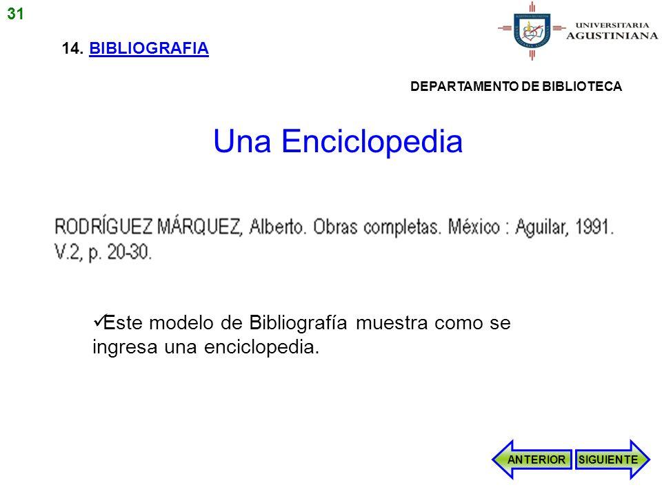 31 14. BIBLIOGRAFIA. DEPARTAMENTO DE BIBLIOTECA. Una Enciclopedia. Este modelo de Bibliografía muestra como se ingresa una enciclopedia.