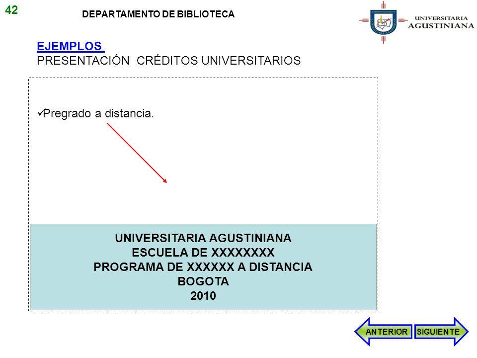 UNIVERSITARIA AGUSTINIANA PROGRAMA DE XXXXXX A DISTANCIA