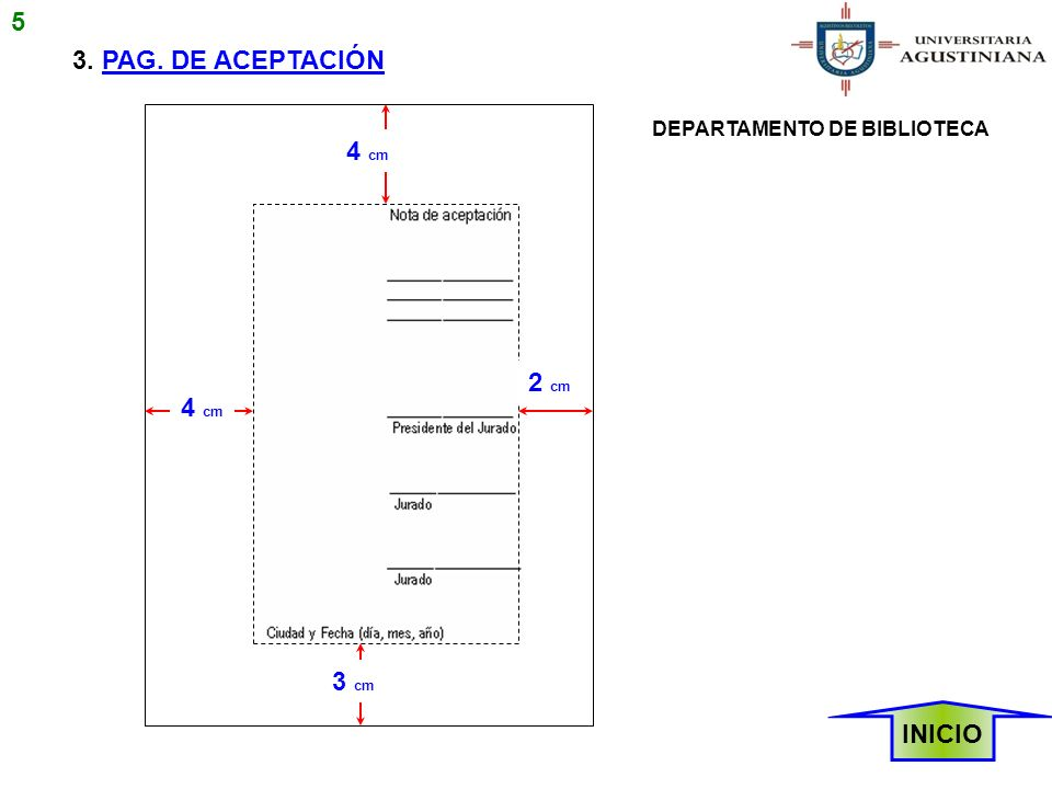 5 3. PAG. DE ACEPTACIÓN 4 cm 2 cm 4 cm 3 cm INICIO