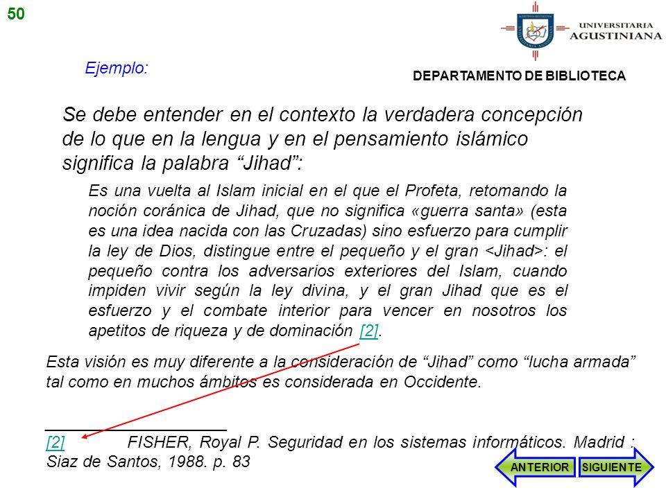 50 Ejemplo: DEPARTAMENTO DE BIBLIOTECA.
