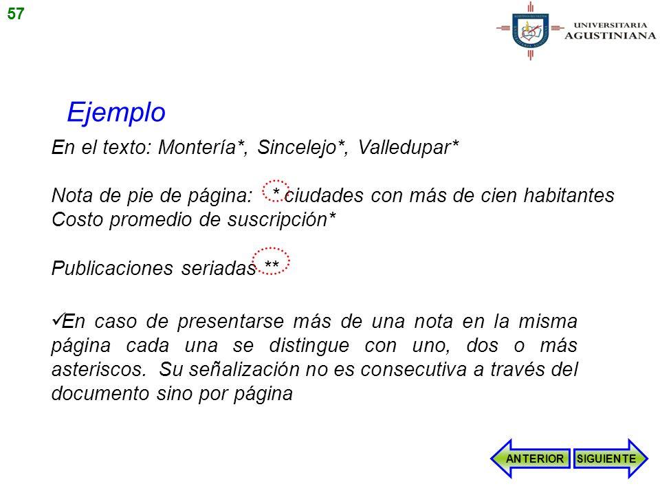Ejemplo En el texto: Montería*, Sincelejo*, Valledupar*