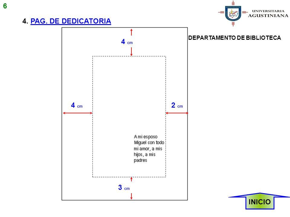 6 4. PAG. DE DEDICATORIA 4 cm 4 cm 2 cm 3 cm INICIO