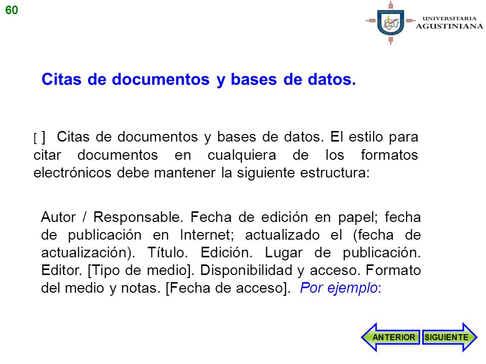 Citas de documentos y bases de datos.