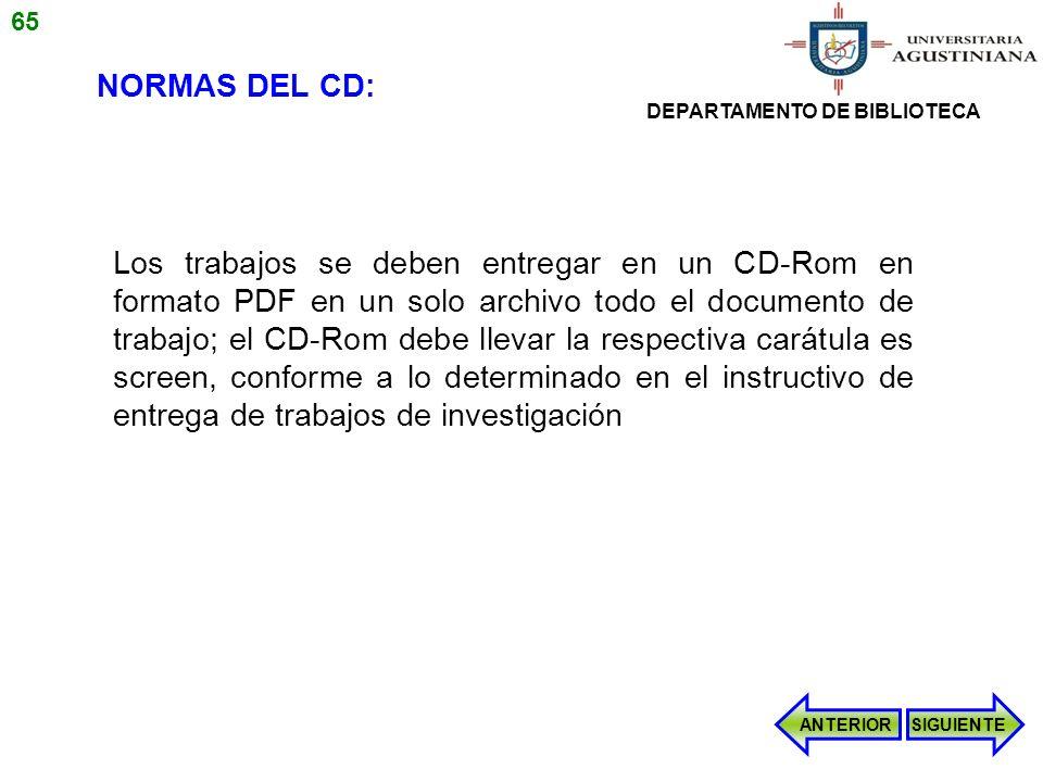 65 NORMAS DEL CD: DEPARTAMENTO DE BIBLIOTECA.